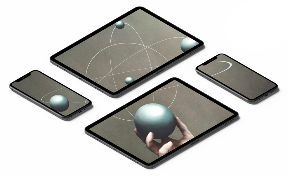 Image of 2 ipads and 2 iphones showing an image across all of them. The image is of someone holding planets.